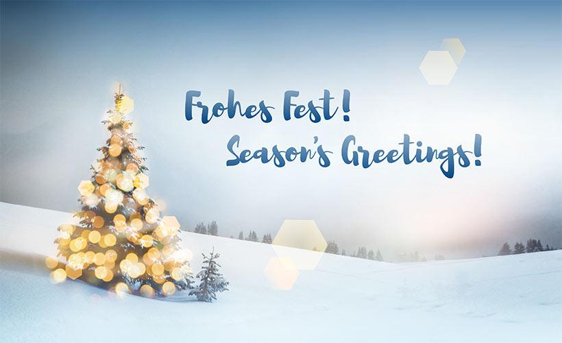 Lichterbaum im Schnee. Frohes Fest. Season's Greetings. Key-Work wünscht allen schöne Feiertage und einen guten Start ins neue Jahr