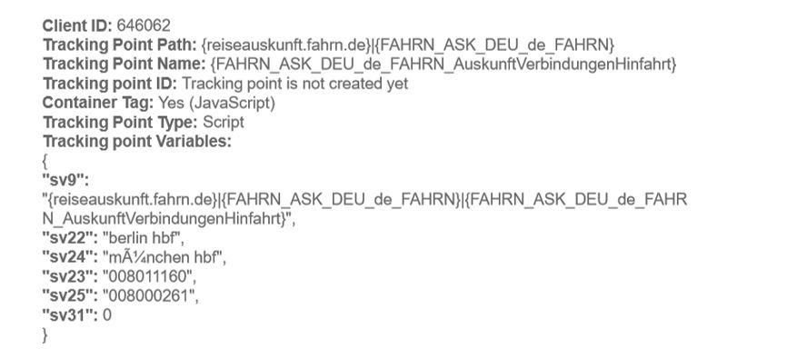 Webiste- und Browserdaten Bahn-Anfrage